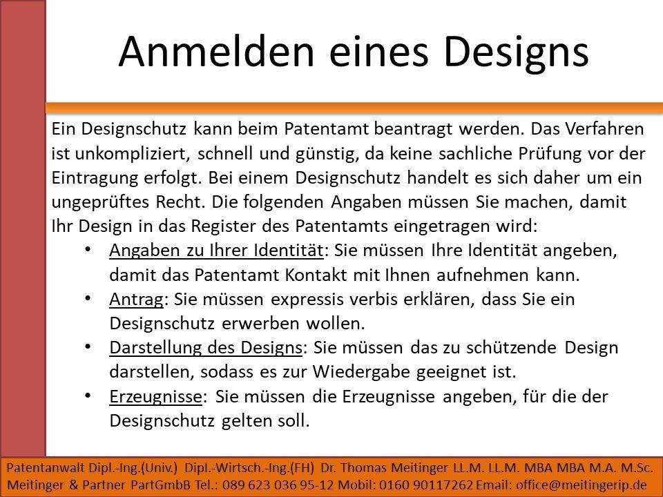 Anmelden eines Designs