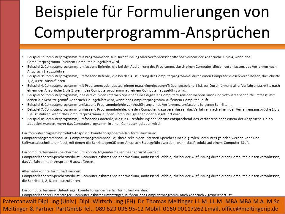 Beispiele für Formulierungen von Computerprogramm-Ansprüchen