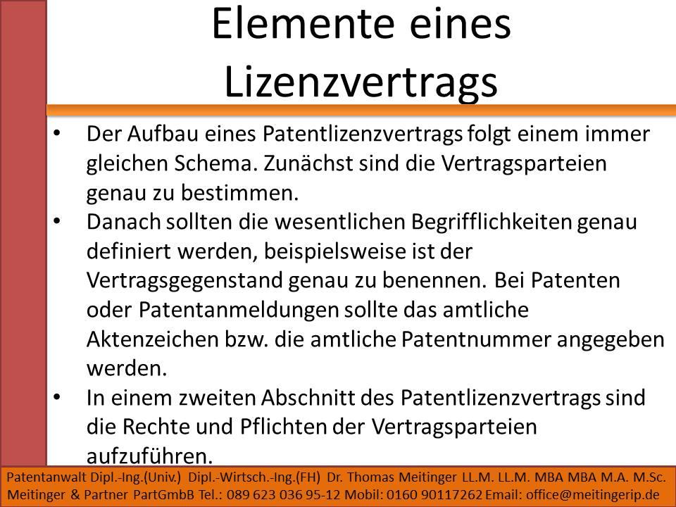 Elemente eines Lizenzvertrags