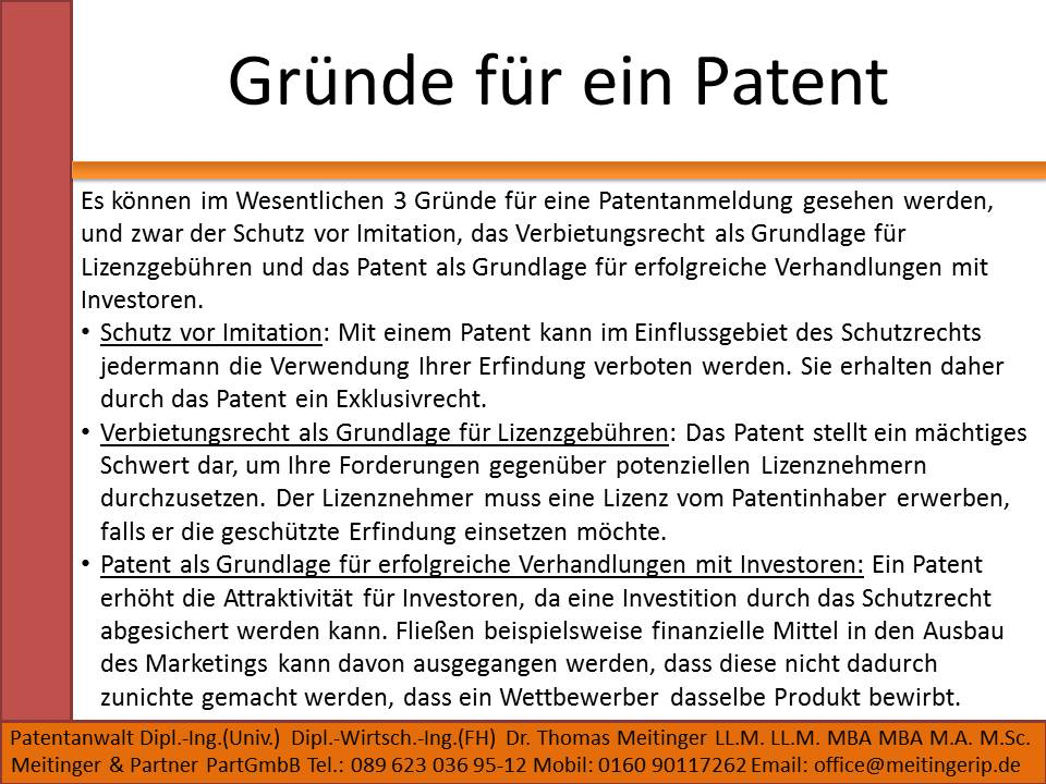 Gründe für ein Patent für mich