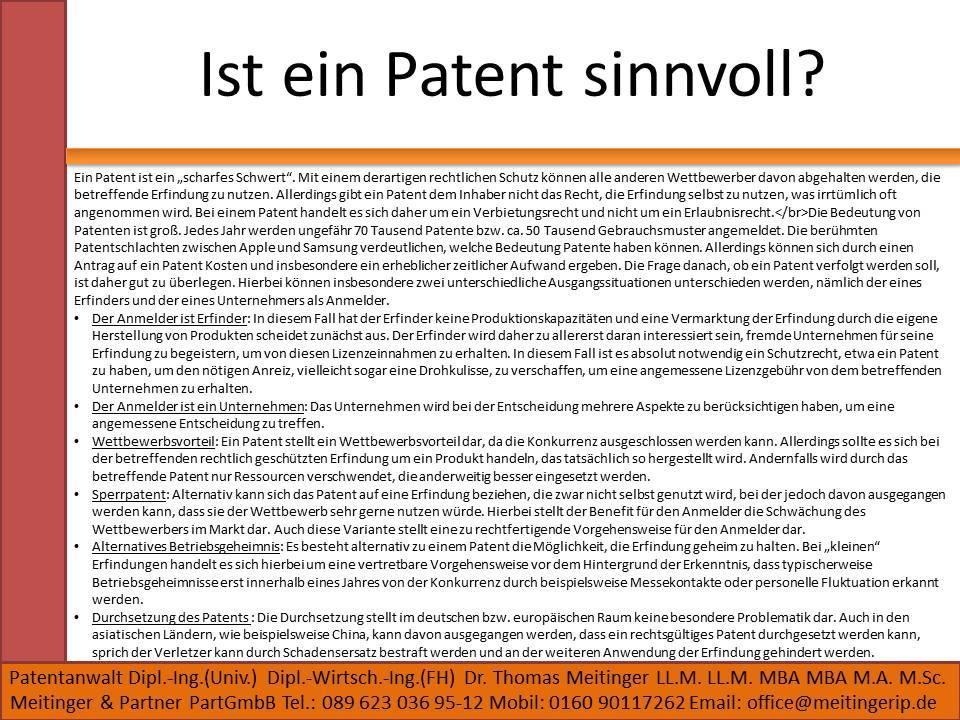 Ist ein Patent sinnvoll für mich