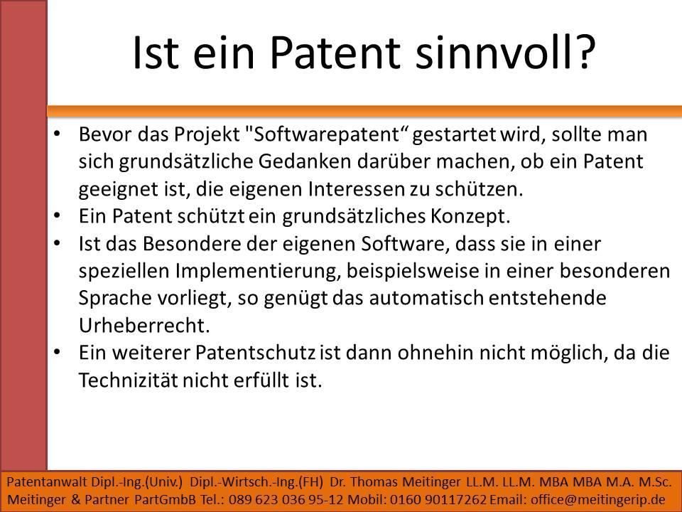 Ist ein Patent sinnvoll