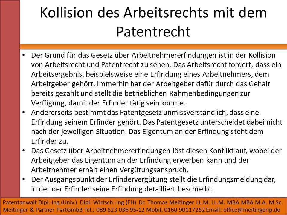 Kollision des Arbeitsrechts mit dem Patentrecht
