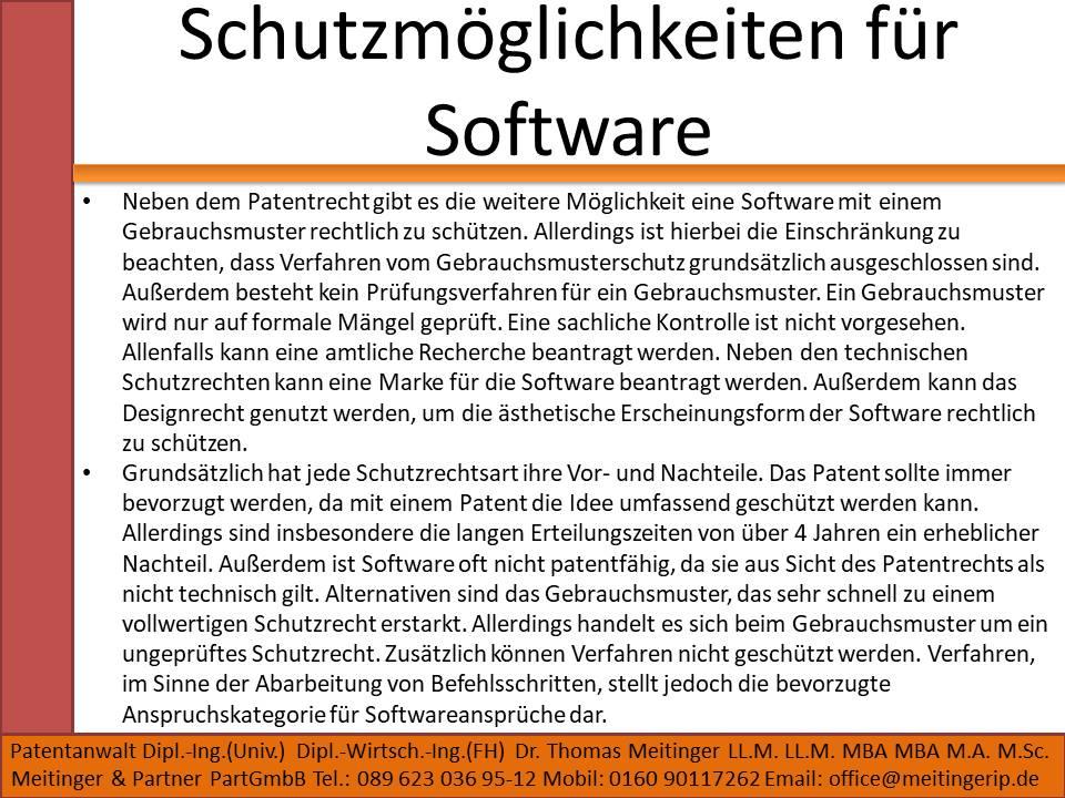Schutzmöglichkeiten für Software