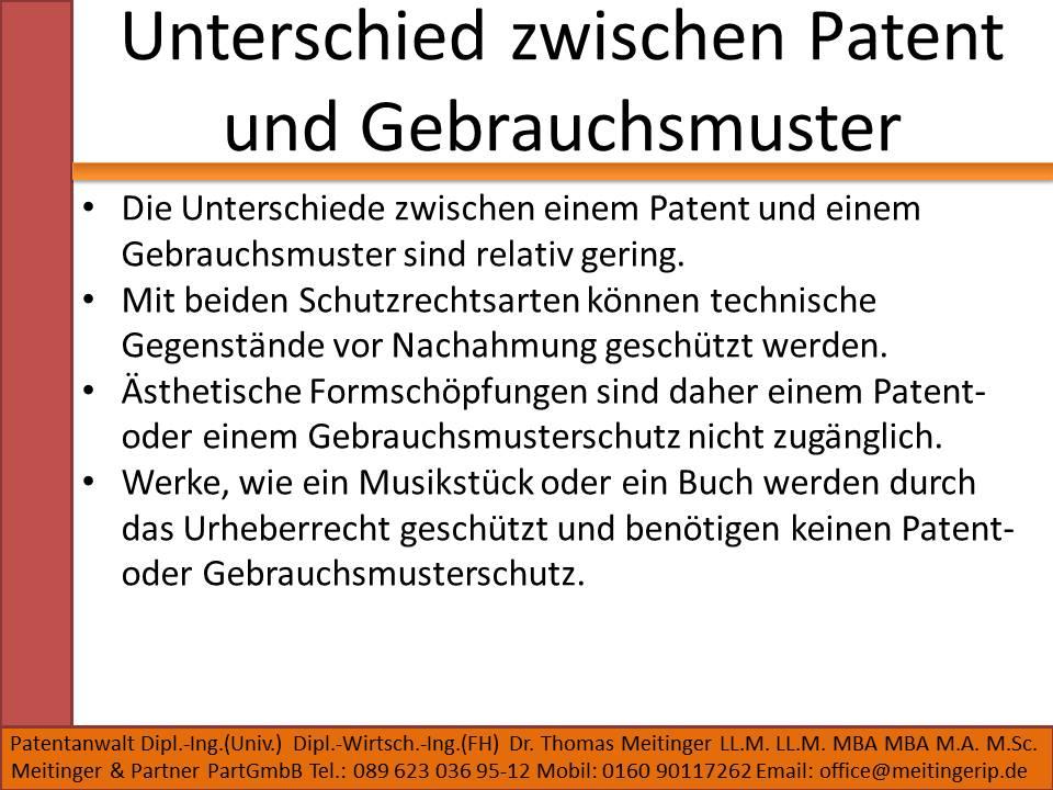 Unterschied zwischen Patent und Gebrauchsmuster