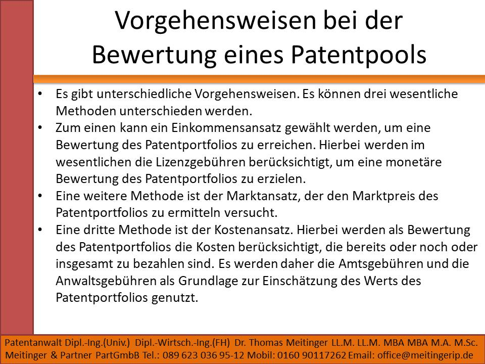 Vorgehensweisen bei der Bewertung eines Patentpools
