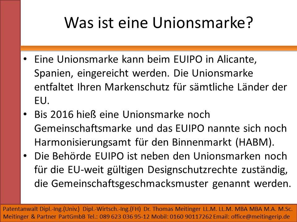 Was ist eine Unionsmarke