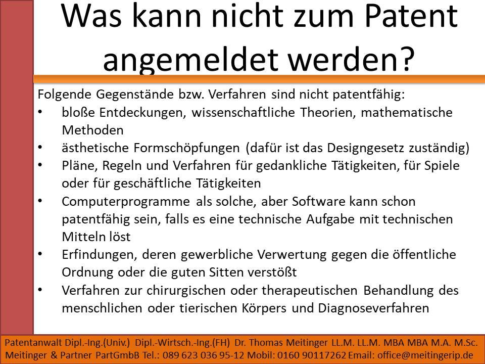 Was kann nicht zum Patent angemeldet werden