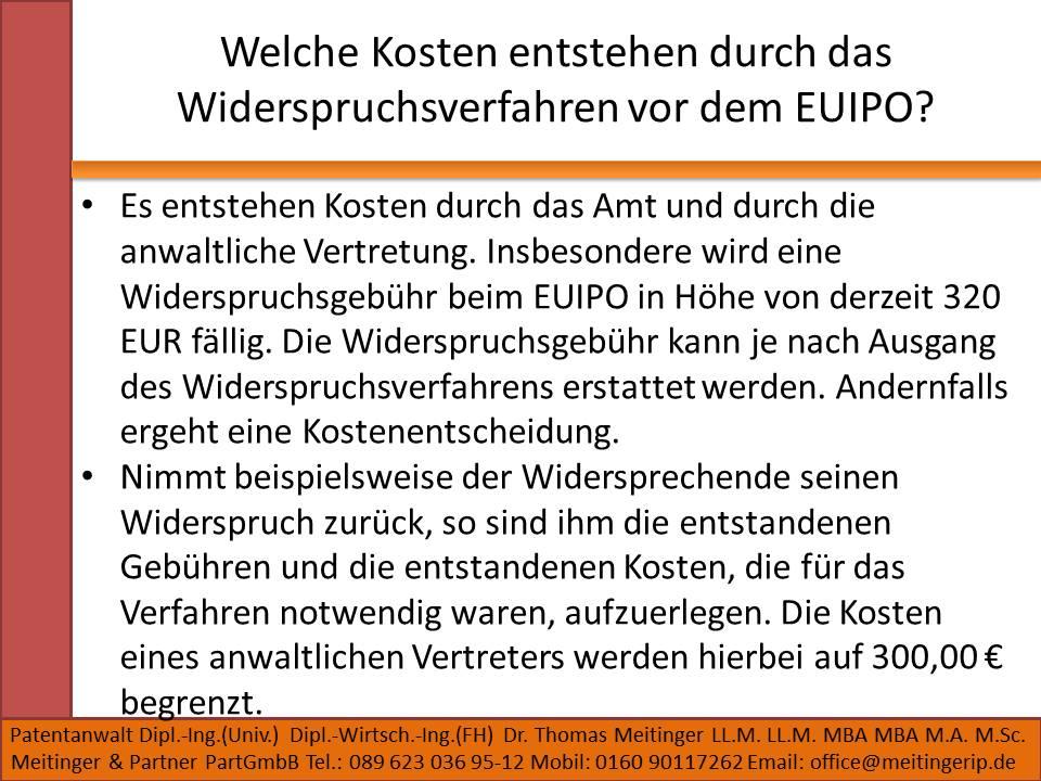 Welche Kosten entstehen durch das Widerspruchsverfahren vor dem EUIPO