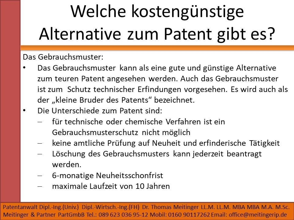 Welche kostengünstige Alternative zum Patent gibt es