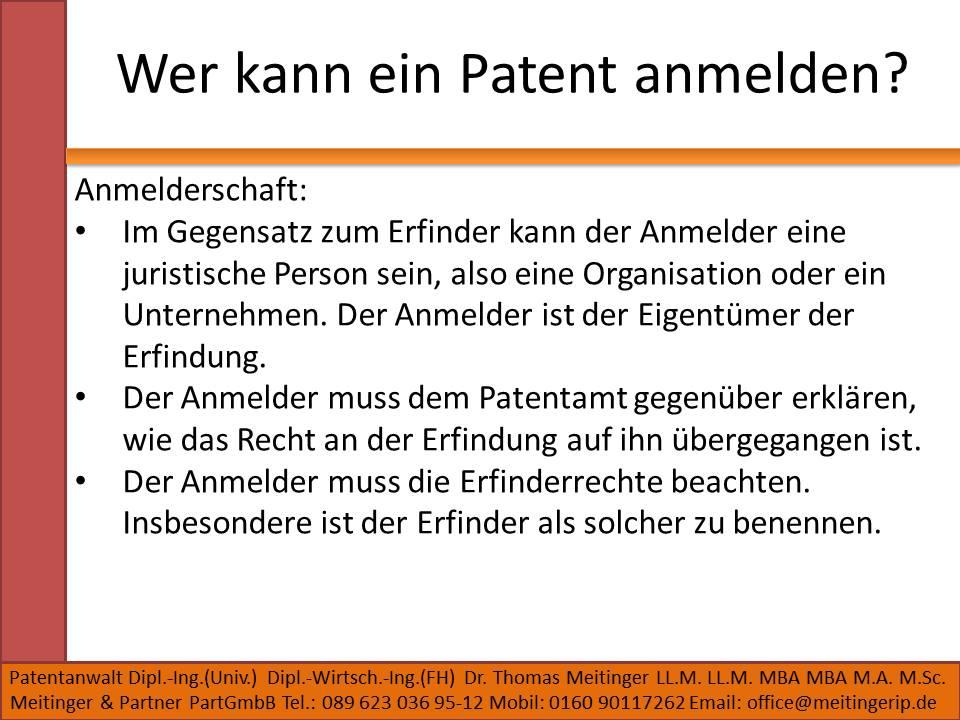 Wer kann ein Patent anmelden