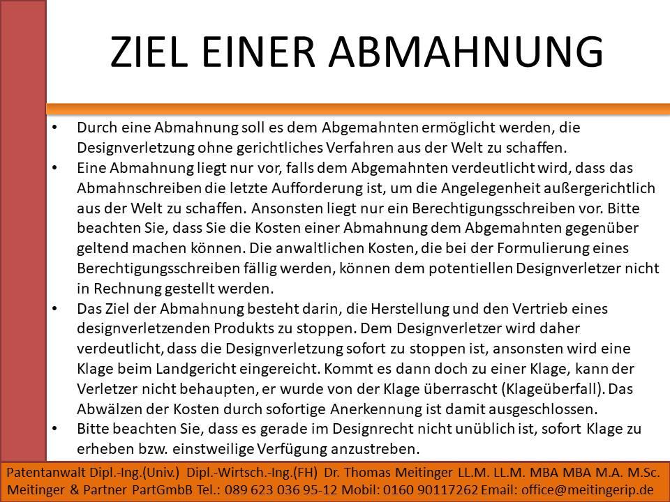 ZIEL EINER ABMAHNUNG