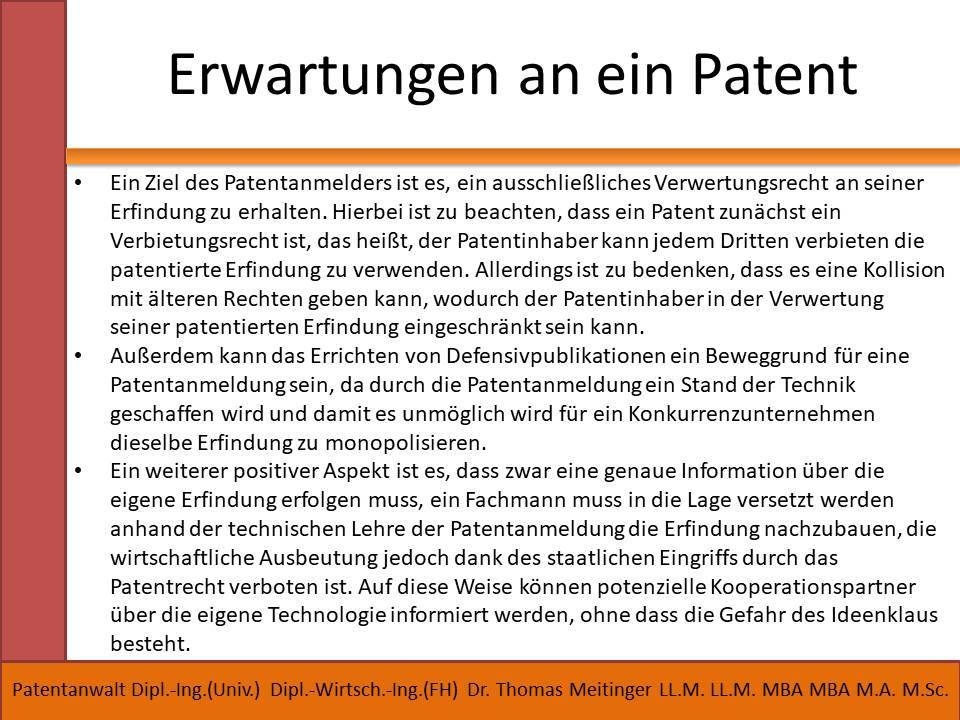 erwartungen an ein patent