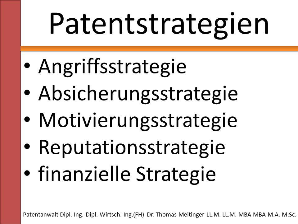 fuenf unterschiedliche patentstrategien