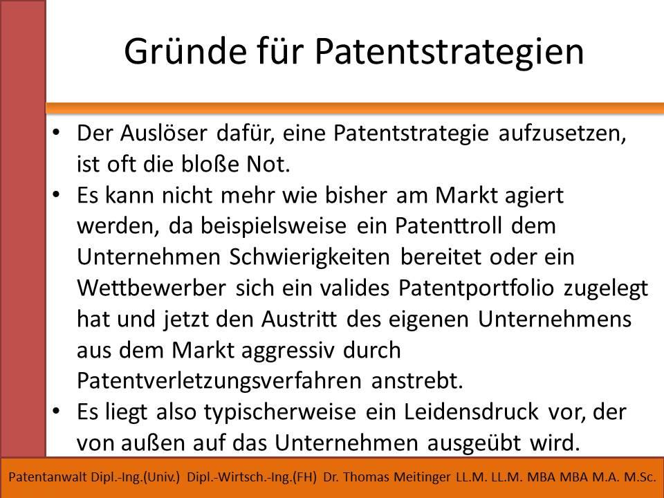 gruende fuer patentstrategien