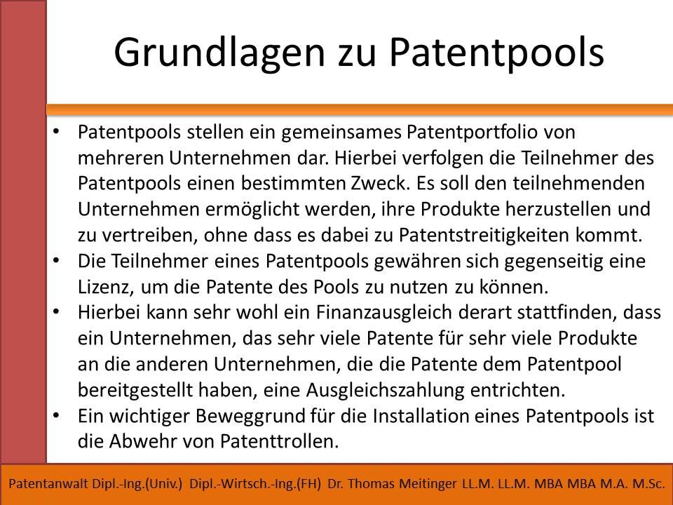 grundlagen zu patentpools
