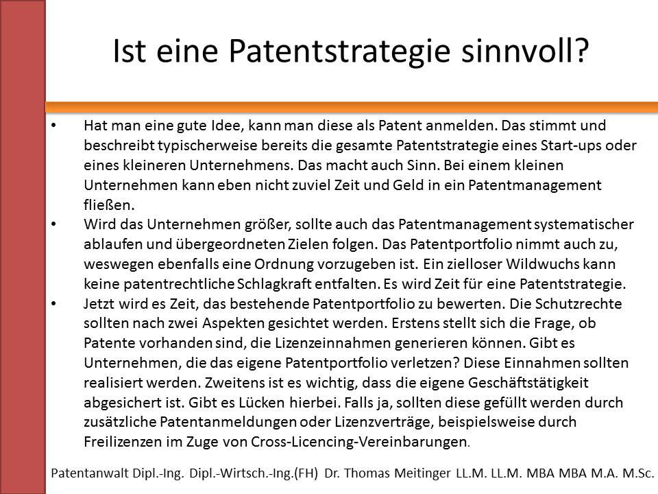 ist eine patentstrategie sinnvoll
