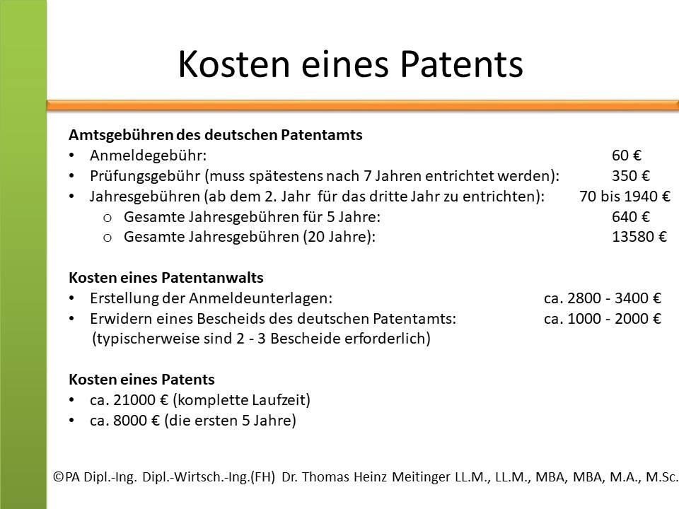 kosten eines patents