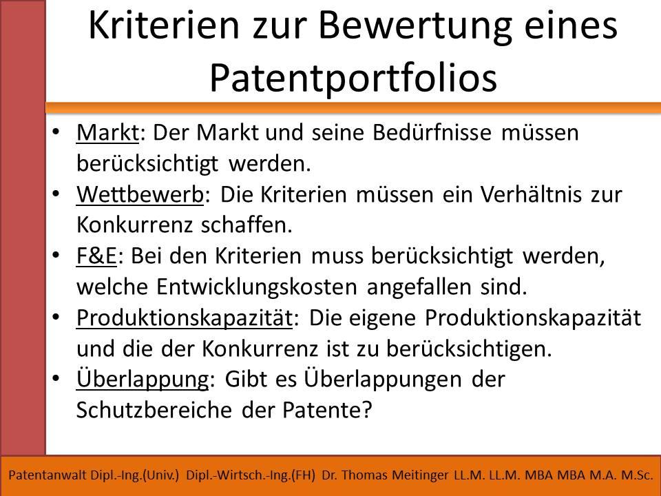 kriterien zur bewertung eines patentportfolios