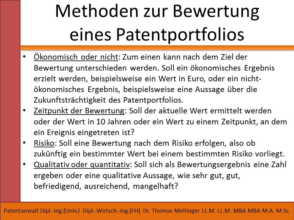 methoden zur bewertung eines patentportfolios