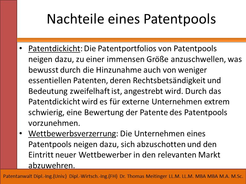nachteile eines patentpools
