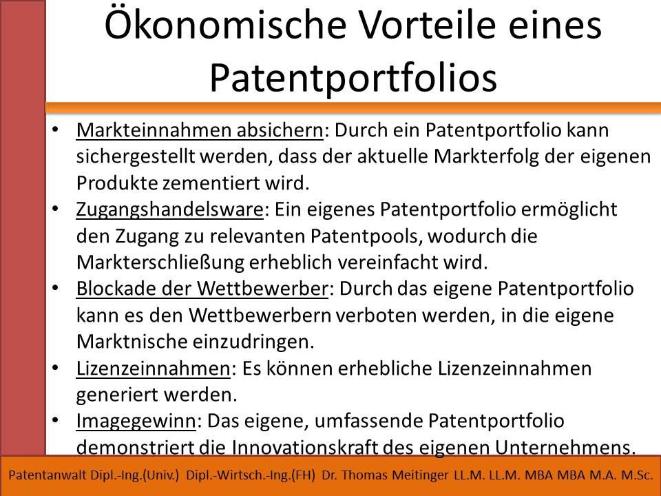 oekonomische vorteile eines patentportfolios