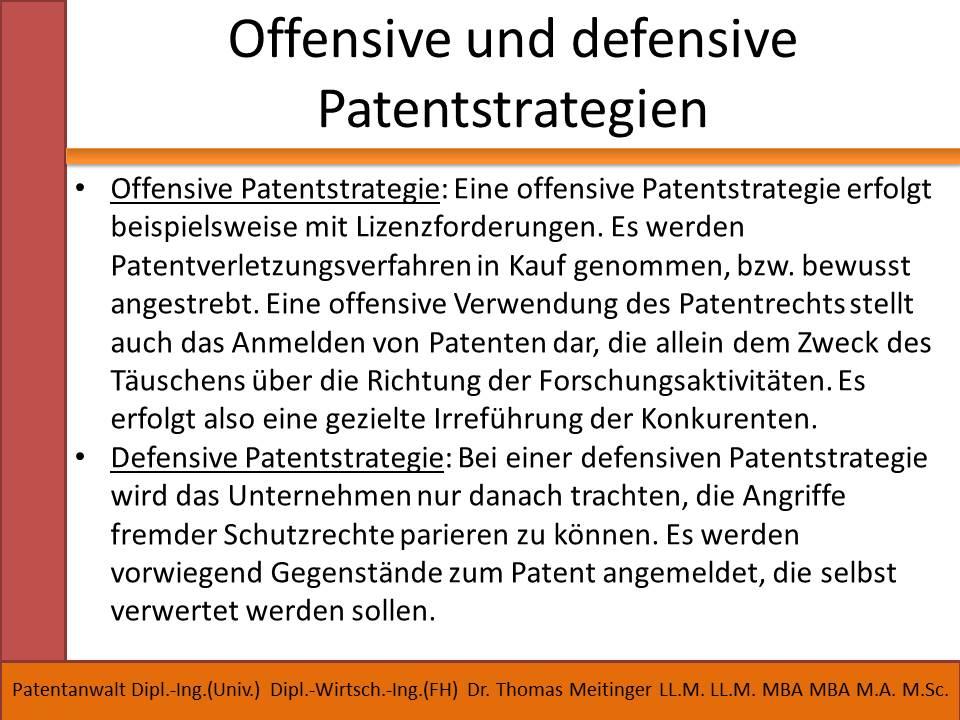 offensive und defensive patentstrategien