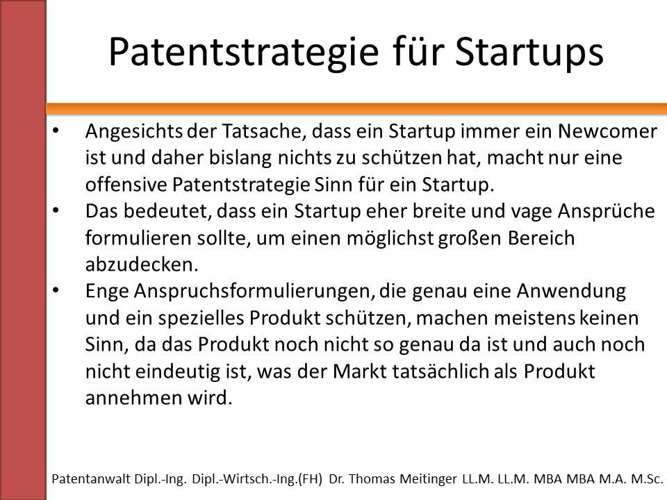 patentstrategie fuer startups