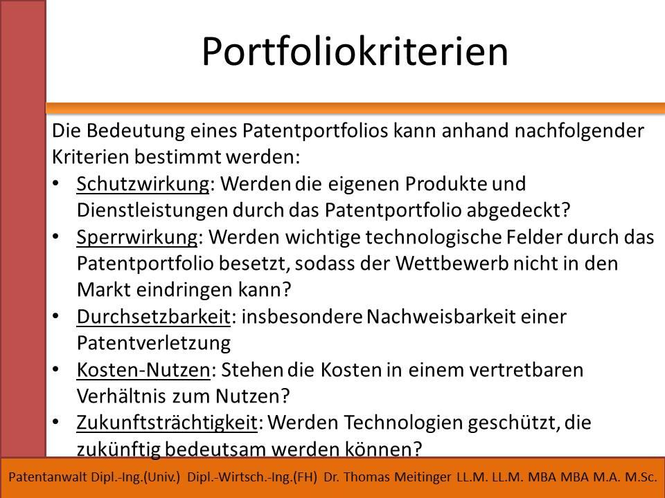 portfoliokriterien