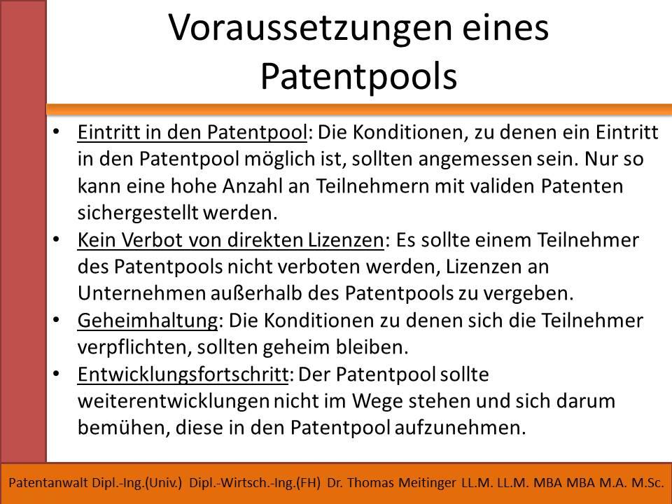 voraussetzungen eines patentpools