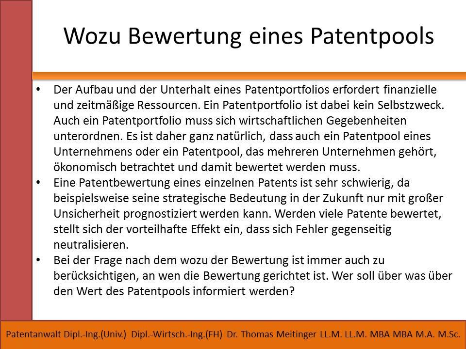 wozu bewertung eines patentpools