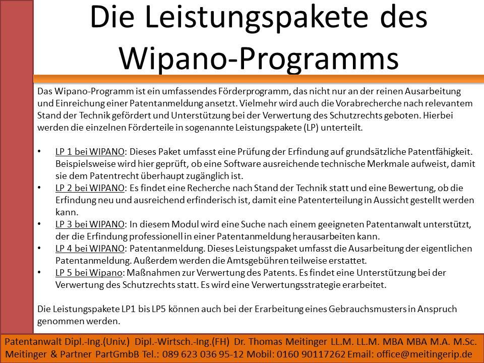 Die Leistungspakete des Wipano-Programms