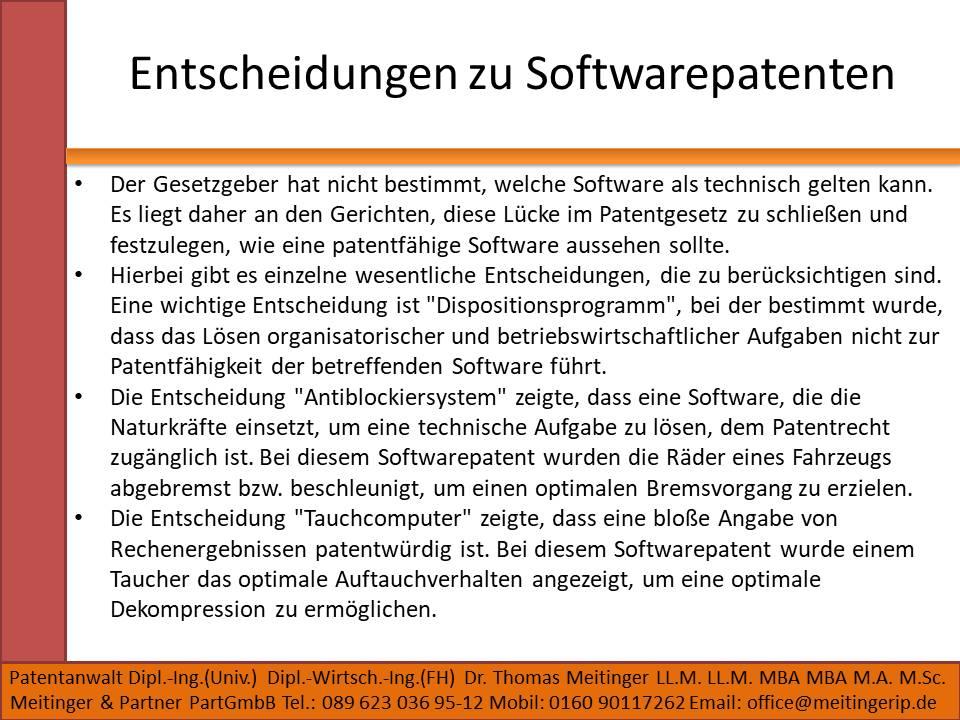 Entscheidungen zu Softwarepatenten
