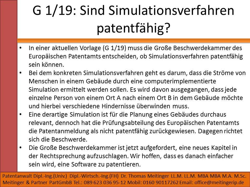G 1 19 Sind Simulationsverfahren patentfähig