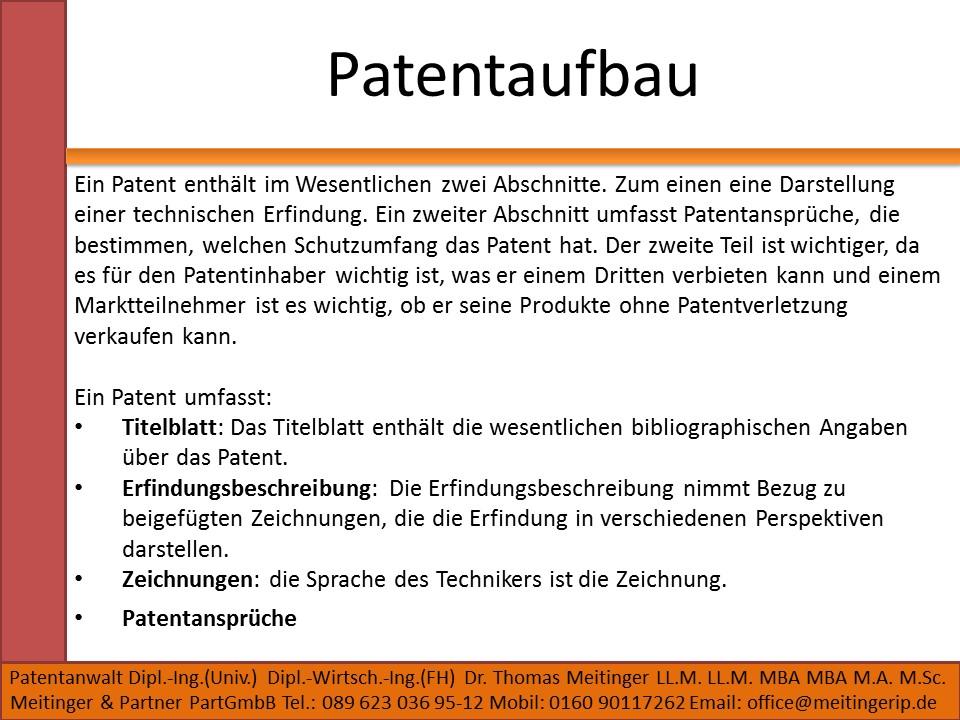 Patentaufbau