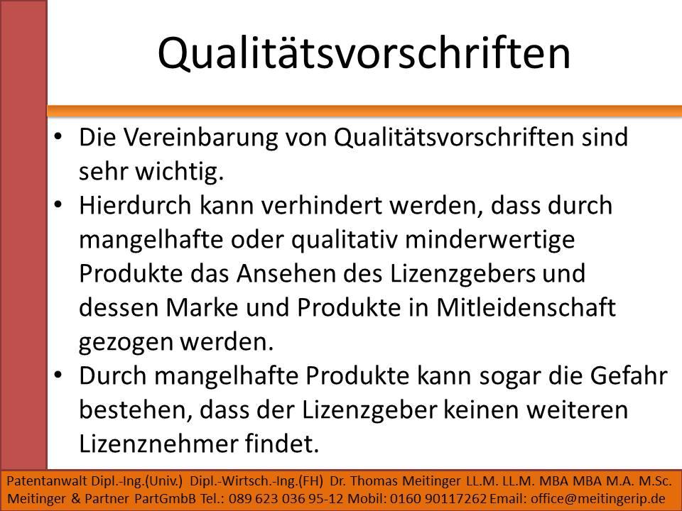 Qualitätsvorschriften