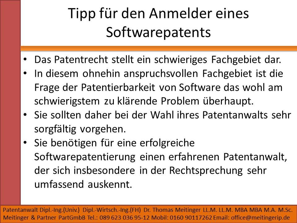 Tipp für den Anmelder eines Softwarepatents