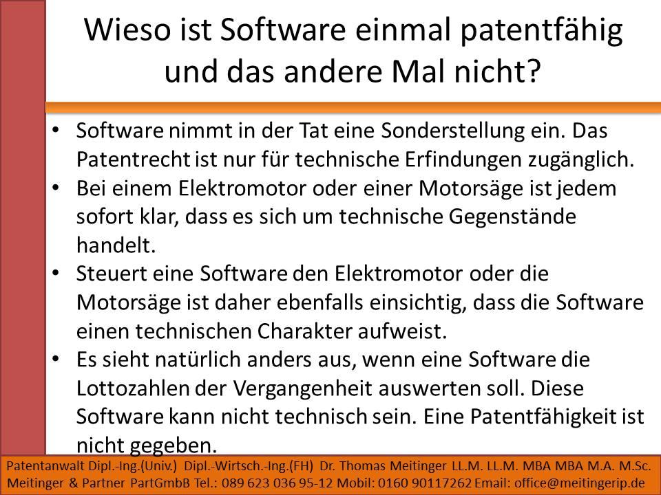 Wieso ist Software einmal patentfähig und das andere Mal nicht