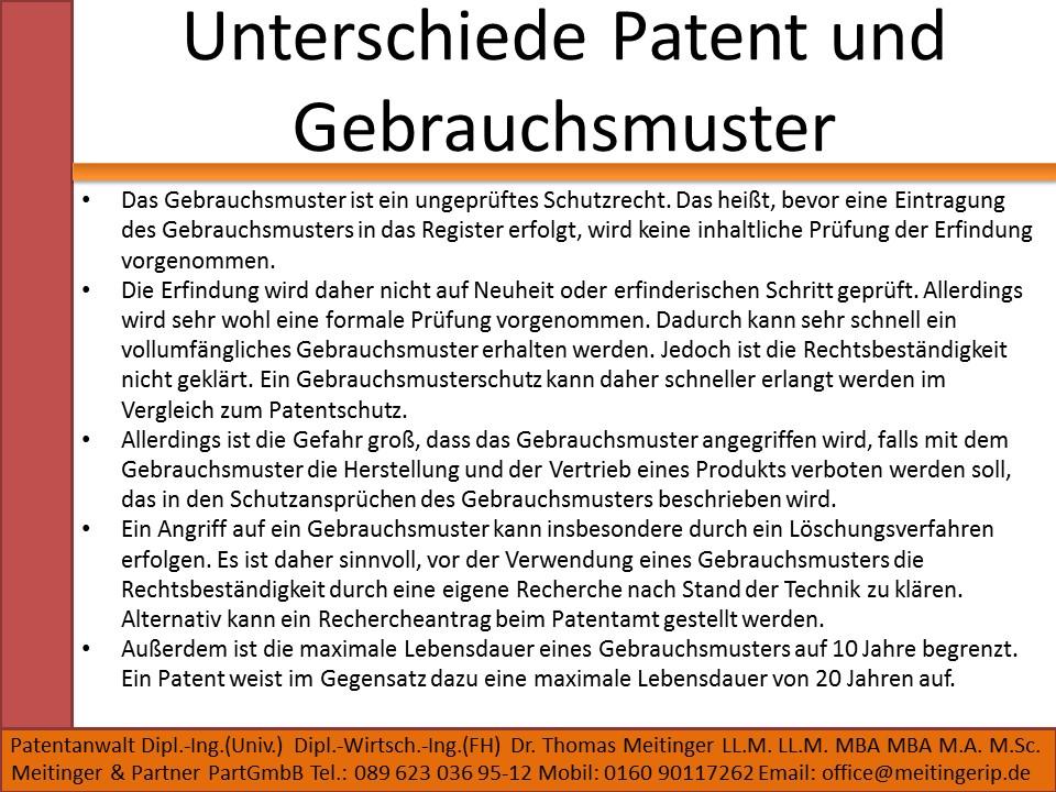 Unterschiede Patent und Gebrauchsmuster